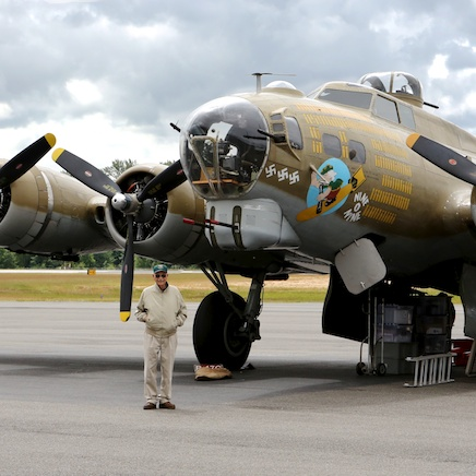 Don standing by the B-17.