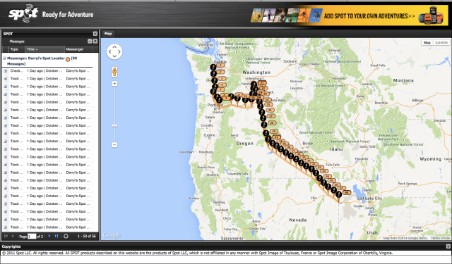 My route so far as shown on my SPOT Satellite Locator.
